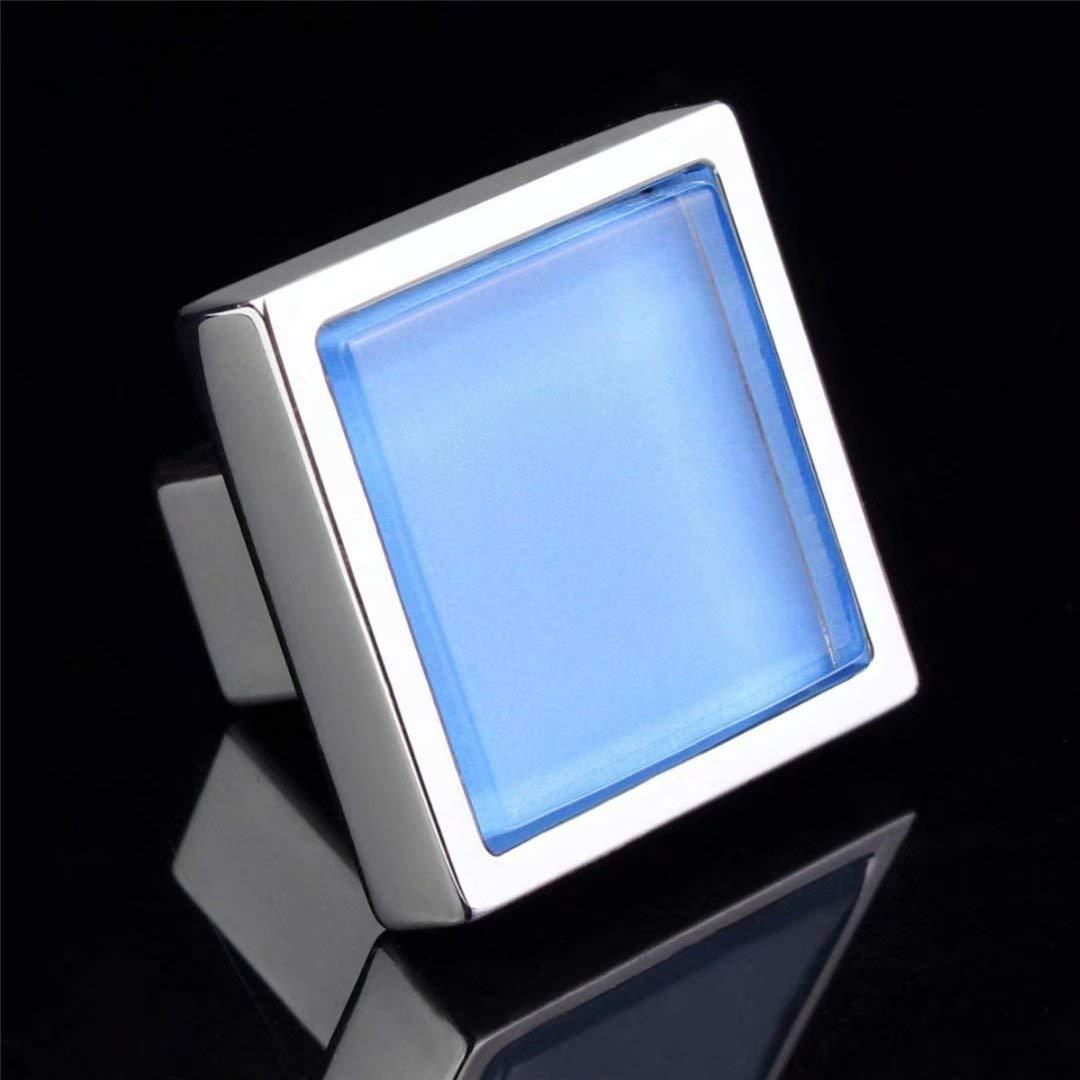 Boutons de Meubles Porte poign/ées de Meuble tiroirs Bleu vestiaire Creatwls Lot de 2 poign/ées en Verre Cristal avec Fermeture /éclair pour Armoire