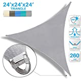 Patio Large Sun Shade Sail 24' x 24' x 24' Equilateral triangle Heavy Duty Strengthen Durable Outdoor Canopy UV Block Fabric A-Ring Design Metal Spring Reinforcement 7 Year Warranty -Light Gray
