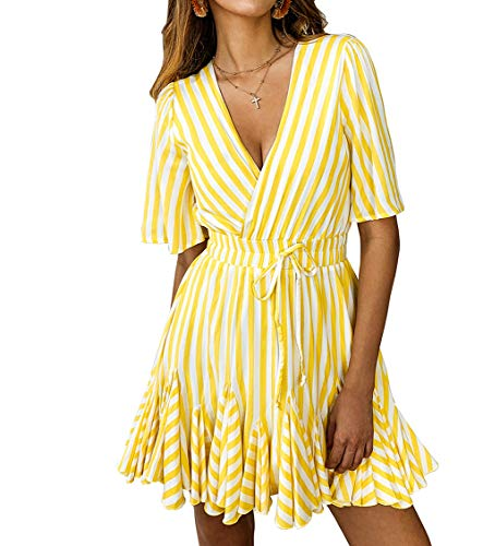 Finerease Women's Deep V-Neck Short Sleeve Striped Mini Casual Ruched Dress (Yellow, Small)