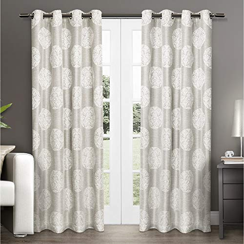 Exclusive Home Curtains Home Akola Medallion Linen Jacquard Grommet Top Curtain Panel Pair, 54x108, Dove Grey, 2 Piece