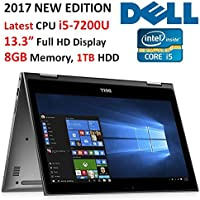 "Dell Inspiron 2-in-1 13.3"" (2017 Newest) Full HD Touchscreen Convertible Laptop, Intel Core i5-7200U (3M, up to 3.1GHz), 8GB DDR4 RAM, 1TB HDD, Backlit Keyboard, Wi-Fi, Bluetooth, Webcam, Windows 10"