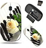 Liili Wireless Mouse Travel 2.4G Wireless Mice with USB Receiver, Click with 1000 DPI for notebook, pc, laptop, computer, mac book IMAGE ID: 15065929 background of synthesizer keyboard with rose