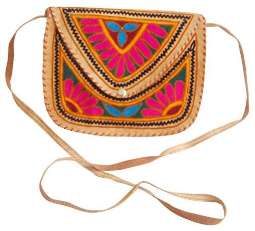 Bag Leather Color Multi Ethnic Sling Handmade Embroidered Camel Shoulder CUwCT7q8