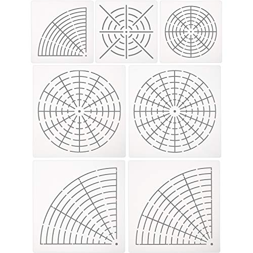 Gejoy 7 Pieces of Mandala Stencil for Painting Large Reusable Stencils Template Set Dotting Tool for Painting on Wood Floor Wall Tile (16, 12, 8 Segment) (S, M, L)