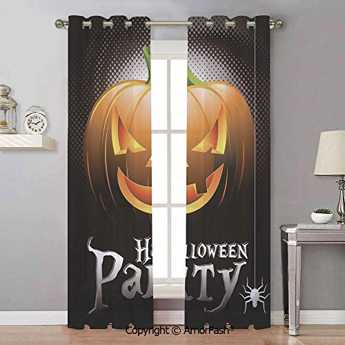 Halloween White Window Sheer Curtain Panels for Living Room,Bedroom,Elegance Curtains,42x96 Inch Halloween Party Theme Scary Pumpkin on Abstract Modern Backdrop Spider Decorative -