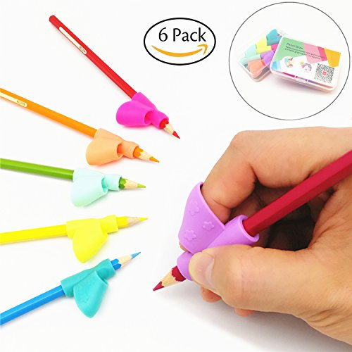 Special Needs Children Set - Pencil Grip Holder Writing Aid Grip Posture Correction Training Learning Tool Colored Pen Handwriting Claw for Adult or Children or Kindergarten or Toddler or kids 6Pcs/Set (A)