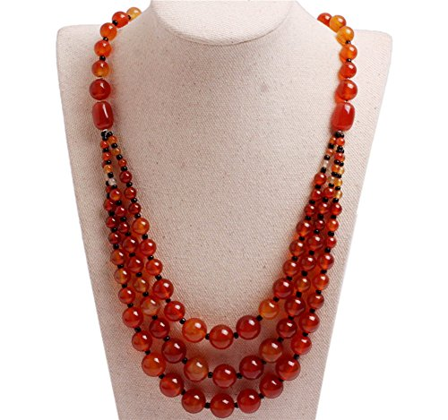 GEM-inside Gemstone Necklace 8mm-12mm Red Agate Charm Fashion Bohemia Statement Hyperbole Bib Stand String Beaded Necklace Crystal Unisex 19-21 Inches