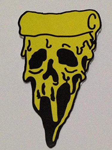 Dead Dirt Biker Costume (Pizza Skull (yellow) biker heavy metal Horror Goth Punk Emo Rock DIY Logo Sticker for Car Window Bumper Laptop Sticker Decals Gift size 2.25 x 4 inch)