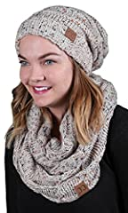 Feeling chilly? Need a fashion lift? Get ready to stay warm, cozy and fashionable with these adorable CC matching oversized slouchy beanie and infinity scarf sets! Our extremely soft hat/scarf bundles are available in a huge variety of colors...