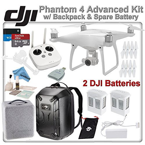 DJI-Phantom-4-Quadcopter-w-Backpack-Bundle-Includes-2-Intelligent-Flight-Batteries-Soft-Padded-Backpack-SanDisk-64GB-MicroSD-Card-and-more