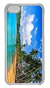 case carry tropical beach hd PC Transparent case for iphone 5C
