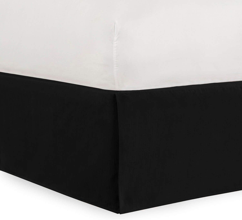 Shop Bedding Tailored Velvet Bed Skirt with Split Corner 14inch Drop-Queen, Black Modern Dust Ruffle, High-End