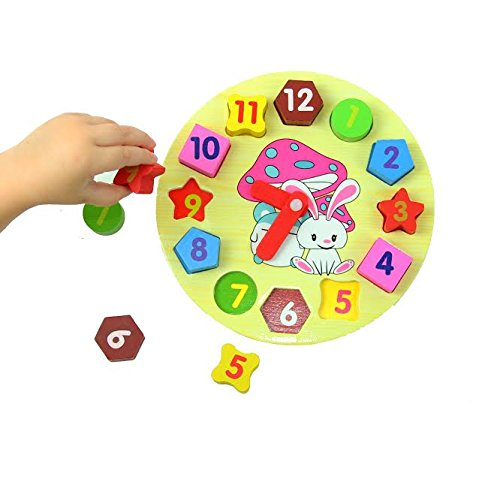 Dazzling Toys Wooden blocks toys Digital Geometry Clock Chil