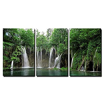 3 Piece Canvas Wall Art - Waterfall in Plitvice National Park, Croatia - Modern Home Art Stretched and Framed Ready to Hang - 16