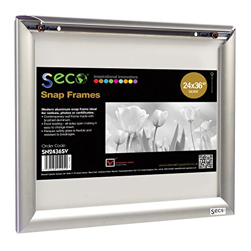 SECO Front Load Easy Open Snap Frame Poster/Picture Frame 24 x 36 Inches, Silver Metal Frame - Photo Art Promo