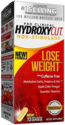 Hydroxycut Pro Clinical Non-Stimulant Weight Loss Supplements with Apple Cider Vinegar, Metabolize Carbs, Fats, Proteins, 72 Pills