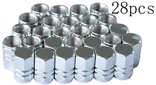 (Cutequeen 28pcs Silive Aluminum Tire Rim Wheel Valve Stem Caps - slive Color)
