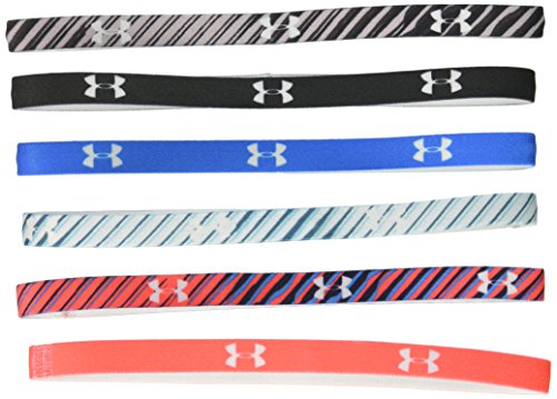 Under Armour Womens Graphic Mini Headbands (6-Pack), Black (010)/White, One Size