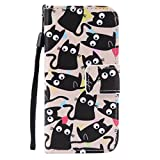 SZYT Phone Case for Apple iPod Touch 5th & iPod Touch 6th Generation, 4.0 inch, PU Leather Flip Cover with Handle, Numerous Black Cats
