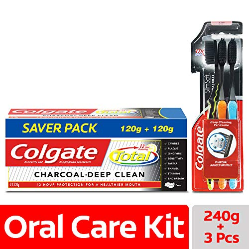 Colgate Total Charcoal Toothpaste 8.47oz (240gm) + Colgate Toothbrush Slim Soft Charcoal (Pack of 3) - Buy Genuine from Uncle Duncun's Store NY (Best Toothpaste For Gingivitis In India)