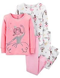 Girls Pajamas PJs 4pc Cotton Snug Ballerina Princess Set