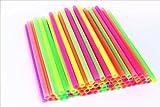 Sonrise 10 1/2'' x 1/2'' Extra Wide Long Neon Smoothie Boba Milkshake Straws (100)