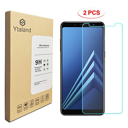 [2 Pack] Ytaland for Samsung Galaxy A8 Plus 2018 Tempered Glass Screen Protector, Anti-Fingerprints, Anti-Scratch, Bubble Free Screen Protector for Samsung Galaxy A8 Plus 2018
