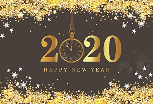 Laeacco Happy New Year 2020 Backdrop Vinyl 7x5ft Golden Glitter Sequins Stars Edge 2020 Pocket Watch Dial Countdown Photography Background New Year's Eve Party Banner Child Baby Adult Portrait Shoot