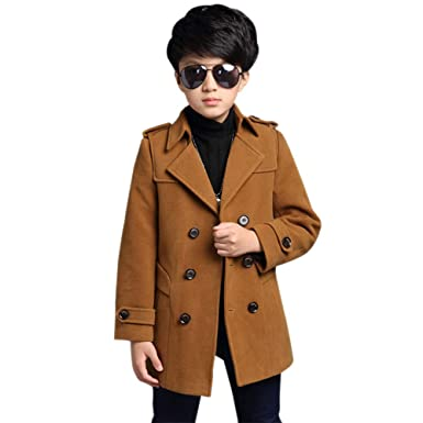 3a7651af3 BOZEVON Boys Coat - Kids Casual Handsome Double Breasted Lapel with ...