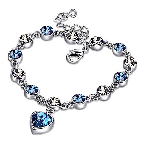 Ronglai Jewelry Love Heart Ocean Blue Crystal Bracelet for Women and Teens...