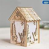LoLa Ling Light Wood House Christmas Tree Hanging Ornaments Holiday
