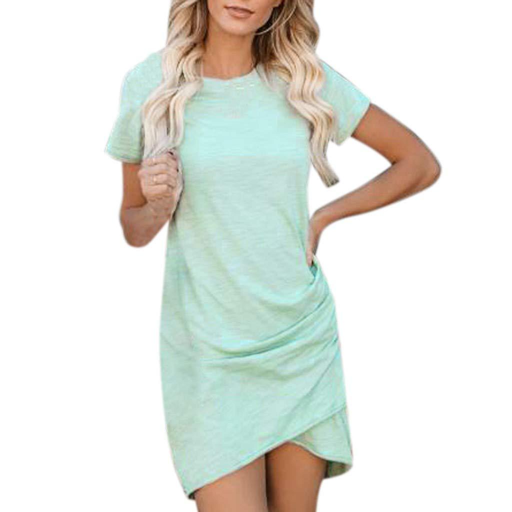 SUMTTER Damen Sommerkleid Kurze Ärmel Bodycon Wickelkleid Mode Rockabilly Rock Lässige Frauen Langer Kleider Sun Kleid