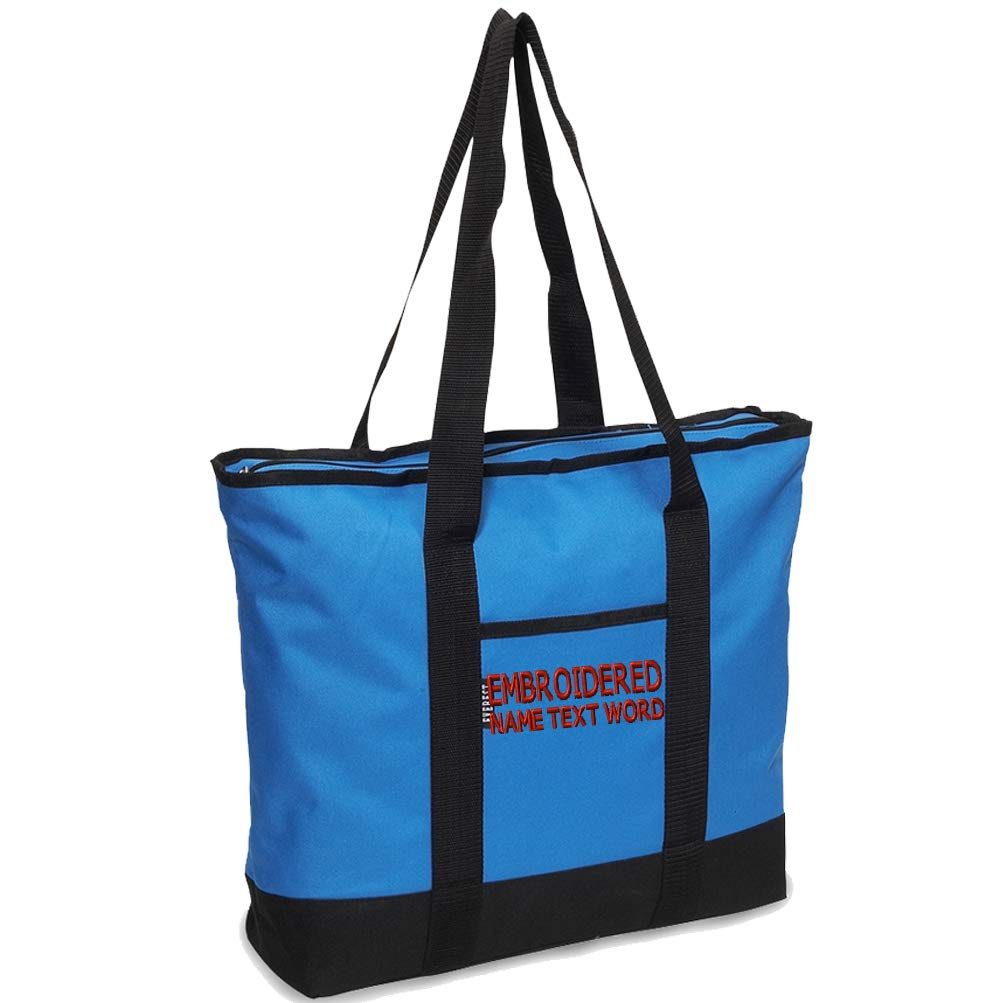 Caprobot iD Custom Embroidery Tote Bag Personalized Embroidered Handbag Zipper Shopping - Blue Black