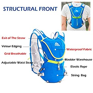 Triwonder Professional 8L Outdoors Mochilas Trail Marathoner Running Race Hydration Vest Hydration Pack Backpack (Black - with 2 Soft Water Bottles (350ml))