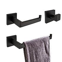 TURS Stainless Steel Bathroom Toilet Paper Holder Towel Holder Robe Hook Towel Bar Rustproof Tissue Roll Hanger Modern Style Wall Mount, Q7SERIES-BK