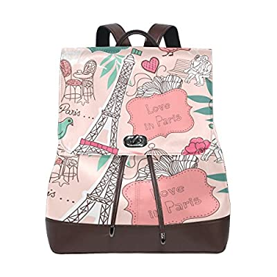 KUWT Love in Paris PU Leather Backpack Photo Custom Shoulder Bag School College Book Bag Rucksack Casual Daypacks Diaper Bag for Women and Girl outlet