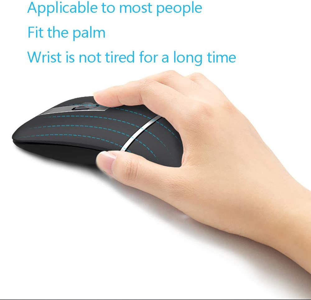 QYEND Bluetooth Mouse Slim Dual Mode 2.4Ghz Wireless Bluetooth Mouse with 1600 DPI Rechargeable Wireless Mouse for Windows2000//XP//Vista//Linux//7//8 Bluetooth 3.0 + USB