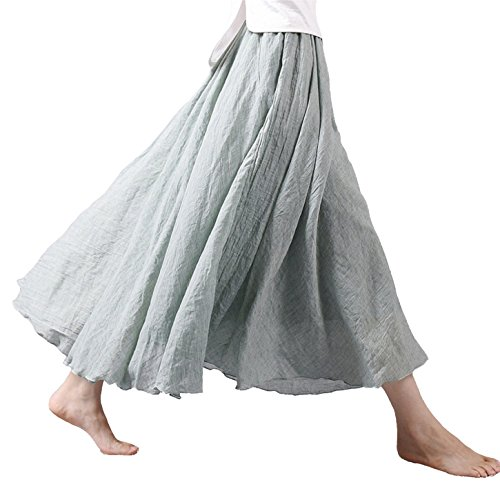 Vanbuy Women's Bohemian Style Elastic Waist Band Cotton Linen Long Maxi Skirt Z02-Light (Green Linen Skirt)