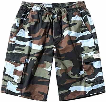 4ed5d6ac51 Alangbudu Mens Camo Cargo Shorts Relaxed Fit Multi-Pocket Outdoor Camouflage  Cargo Shorts Drawstring Swim