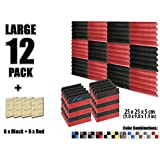 Arrowzoom New 12 Pieces of (25 X 25 X 5 cm) Soundproofing Insulation Wedge Acoustic Wall Foam Padding Studio Foam Tiles AZ1134 (BLACK & RED)