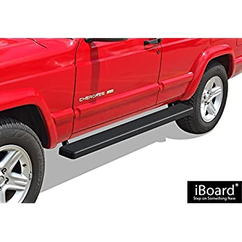 APS iBoard Running Boards (Nerf Bars | Side Steps | Step Bars) for 1984-2000 Jeep Cherokee Sport Utility 4-Door | (Black Powder Coated 5 inches)