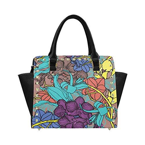 (InterestPrint Summer Hibiscus Flowers in Purple and Blue Purses and Handbags Shoulder Bag for Women Ladies Girls)