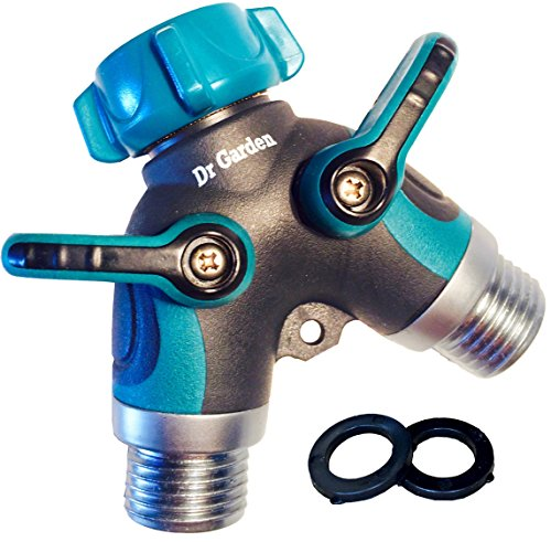 User Friendly 2 Way Garden Hose Splitter with Shut Off Valve and Long Levers | Arthritis Friendly Y Valve Hose to Hose Connector