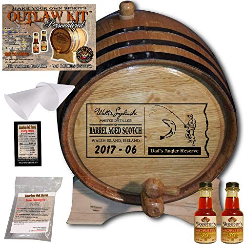 Scotch Honey (Personalized Whiskey Making Kit (071) - Create Your Own Honey Scotch Whiskey - The Outlaw Kit from Skeeter's Reserve Outlaw Gear - MADE BY American Oak Barrel - (Oak, Black Hoops, 1 Liter))