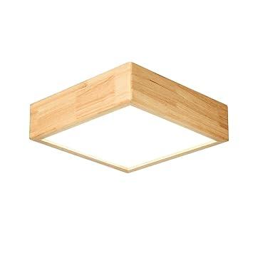 SXY Lámpara de Techo de Madera Maciza nórdica, lámpara de Techo Cuadrada de Madera de Estilo japonés, Sala de Estar de LED Dormitorio iluminación de ...