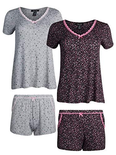 Rene Rofe Sleepwear Women\'s (4-Piece) Spring Pajama T-Shirt Short Set (Charcoal/Pink, Large)'