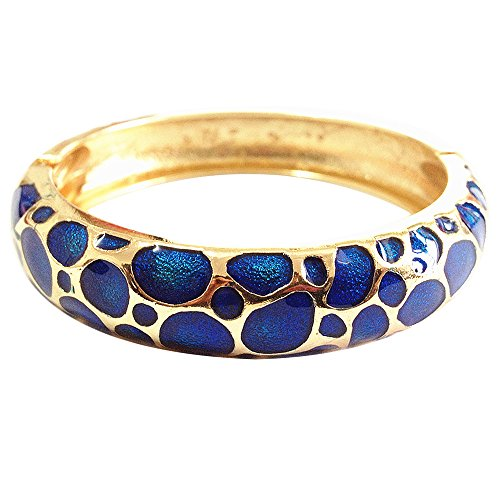 UJOY Vintage Cloisonne Bracelet Handcraft Multi-Colored Enamel Circular Open Hinged Cuff Bangle Jewelry Gifts 55C41 Navy Blue