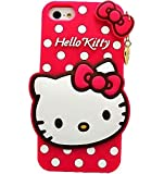 IPhone 5/5s/SE back cover 3D Cute cartoon Polka Dots Cover Case Heart Pendant Hello Kitty Silicone Back Cover for Apple iPhone 5/5s/SE- pink