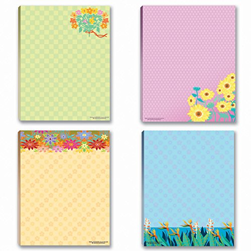 Floral Notepads - 4 Assorted Note Pads - Flower Theme ()