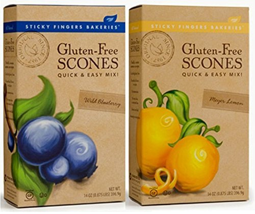 Sticky Fingers Bakeries Gluten Free Scone Variety Mix, Meyer Lemon and Wild Blueberry (Pack of 2) - Gluten Free Scone